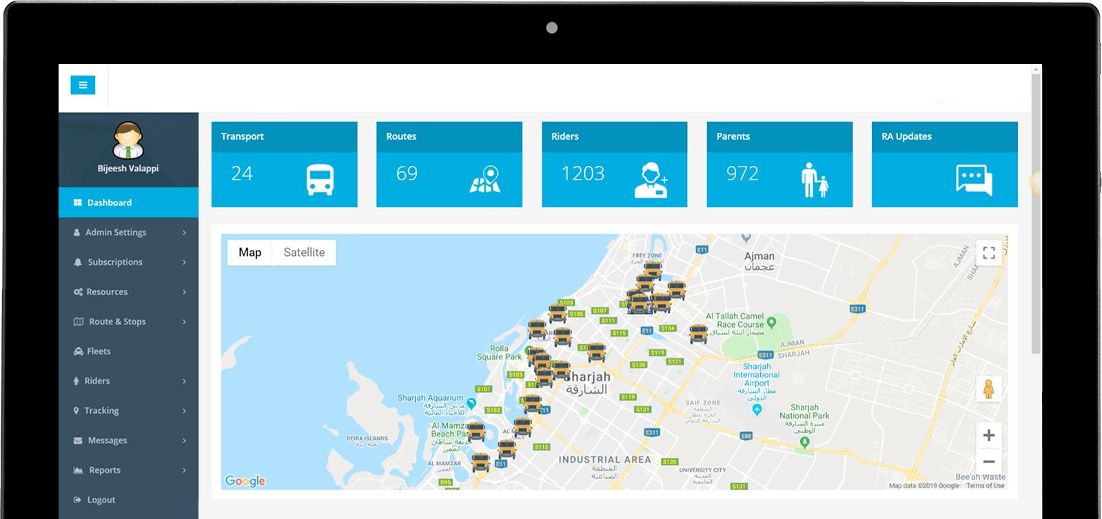 Passenger transportation tracking dashboard by location solutions